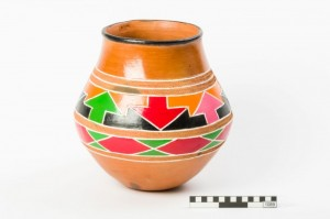 Decorated clay pot used for carrying and storing liquids, mainly water